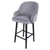Terry Fabric Swivel Bar Stool Black Legs, Denim Dove Gray/1900088-158