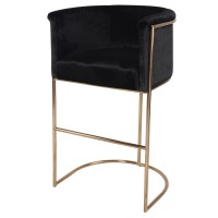 Colm Fabric Bar Stool, Obsidian Black/4700007-218