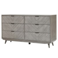Piero Chevron Dresser with 6 Drawers, Weathered Gray/7800022-WG