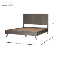 Piero Chevron Queen Bed Set, Weathered Gray/7800012-WG