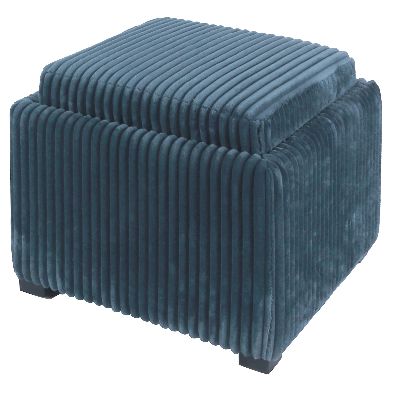 Cameron Square Fabric Storage Ottoman W/ Tray, Midnight Thames  Blue/113042 243
