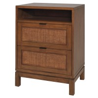 Branigan Rattan Panels End Table 2 Drawers, Natural/7800042