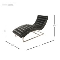 Cavett PU Chaise Lounge Brushed Stainless Steel Base, Black/6300012-B