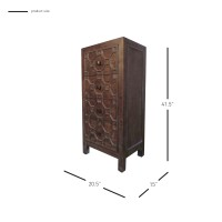 Silvestro Distressed Small Cabinet 4 Drawers, Antique Brown***CLOSEOUT***/2100001-AB