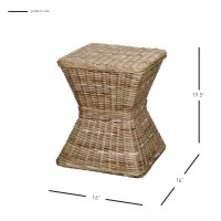 Keoni Rattan Square Stool, Gray/248420-166