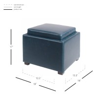 Cameron Square Bonded Leather Storage Ottoman w/ tray, Vintage Blue/113042B-V05