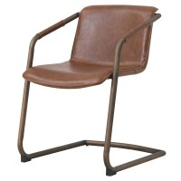Indy PU Side Chair Rubbed Gold Frame, Antique Cigar Brown/1060007-215