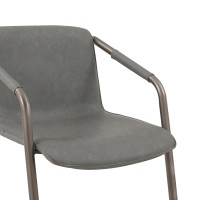 Indy PU Side Arm Chair Silver Frame, Antique Graphite Gray/1060007-216