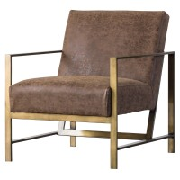 Francis PU Accent Arm Chair, Nubuck Chocolate/3900031-NCE