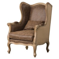 Guinevere Wing Arm Chair, Nubuck Chocolate/Burlap/3900036-NCEB