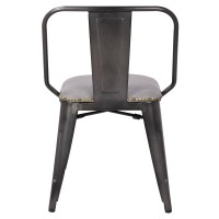 Brian KD PU Metal Side Chair, Vintage Mist Gray/9300030-239