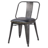 Brian KD PU Metal Side Chair, Vintage Black/9300030-240