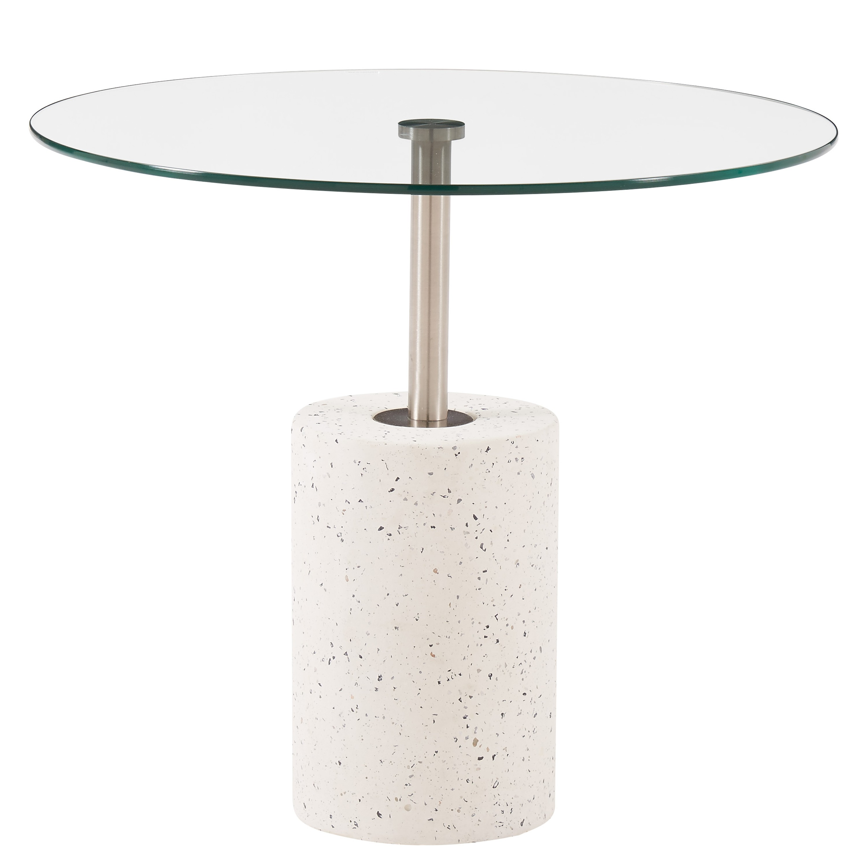 Sharon KD End Table Glass Top With White Concrete Base, Transparent/1150004
