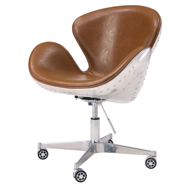 Duval PU Swivel Office Chair Aluminum Frame, Distressed  Caramel/633035P D1 AL
