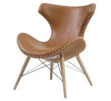 Ceylon KD PU Accent Chair Wooden Legs, Antique Caramel/4500003-AT3