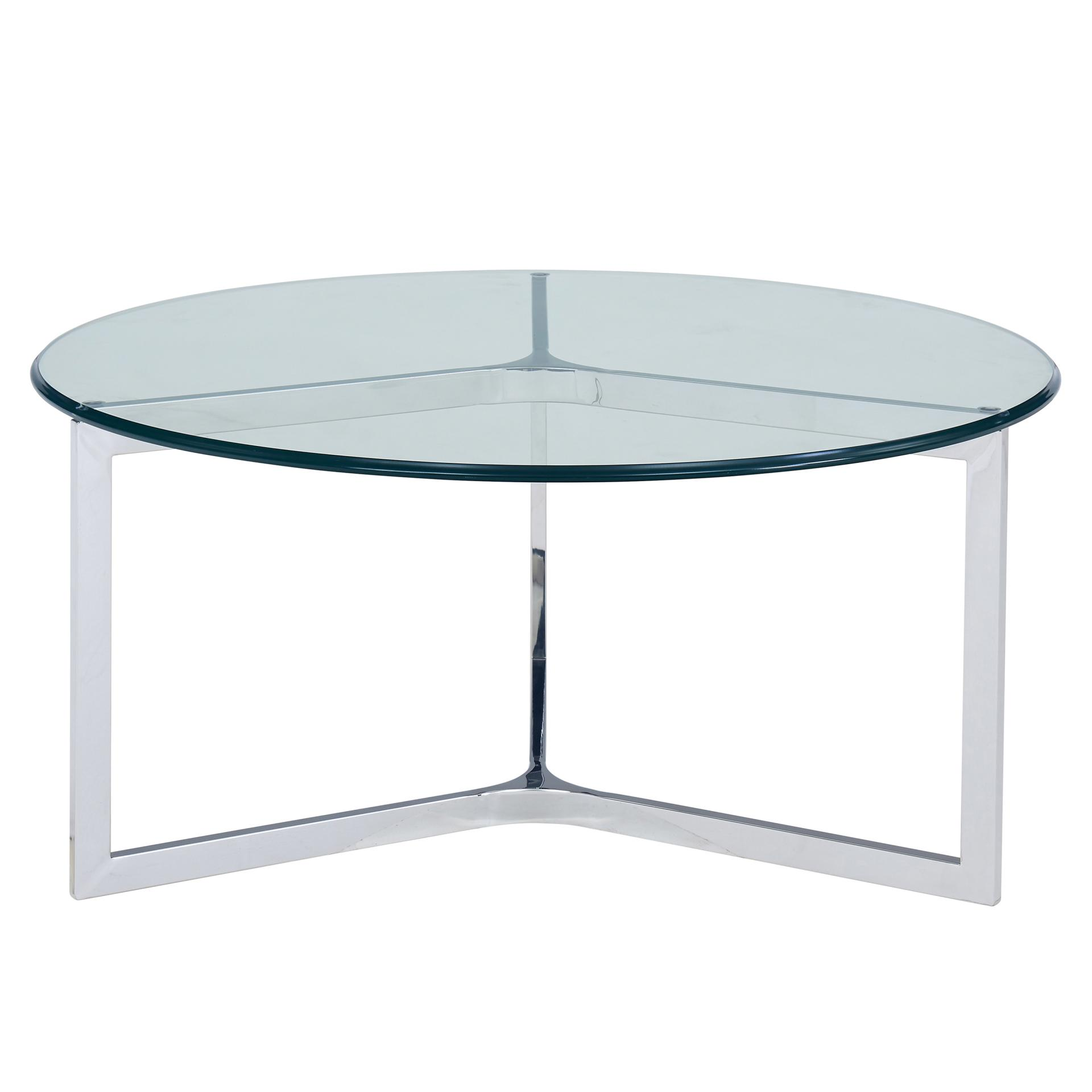 Monza Round Coffee Table Glass Top, Stainless Steel/6000009 SS