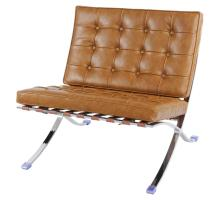 Barca PU Accent Chair Stainless  Steel Frame, Distressed Caramel/6300005-D1