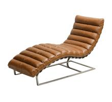 Cavett PU Chaise Lounge  Brushed Stainless Steel Base, Distressed Caramel/6300012-D1