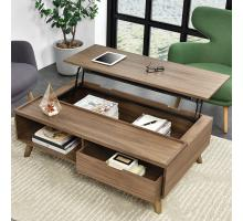 Pascal KD Lift-Top Rectangular Coffee Table, Storage and Drawer, Walnut/1030006