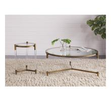 Amaris Acrylic End Table Glass Top, Transparent/Brushed Brass/1600027