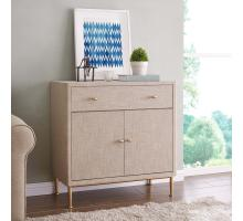 Ricci Raffia Pattern Small Cabinet 1 Drawer + 2 Doors Brushed Gold Legs, Cream/1500022