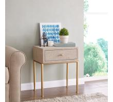 Ricci Raffia Pattern End Table 1 Drawer Brushed Gold Legs, Cream/1500023