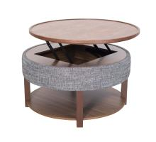 Neville KD Lift-Top Round Coffee Table w/ Storage, Ash Gray/Walnut/1030011
