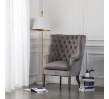 Kingsley Fabric Nailhead Tufted Wing Arm Chair, Tweed Gray/1900113-336