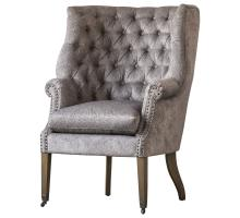 Kingsley Fabric Nailhead Tufted Wing Arm Chair/1900113