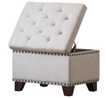 Jonas Fabric Rectangular Nailhead Tufted Storage Ottoman, Sand/1900116-19