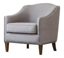 Baxton KD Fabric Nailhead Chair, Putty/1900118-48