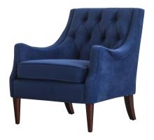Marlene KD Velvet Fabric Tufted Accent Arm Chair, Navy Blue/1900121-347