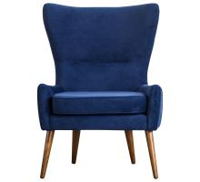 Arya KD Velvet Fabric Chair Wooden Legs, Navy Blue/1900122-347