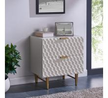Reggie KD Geometric Side Table 2 Drawers Gold Legs, Glossy White/2100037-GW