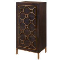 Fairmont Small Cabinet 4 Drawers Antique Gold Legs, Rustic Brown/2100040