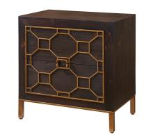 Fairmont Side Table 2 Drawers Antique Gold Legs, Rustic Brown/2100041
