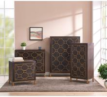 Fairmont Small Cabinet 1 Drawer + 2 Doors Antique Gold Legs, Rustic Brown/2100042