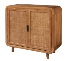 Maile KD Small Cabinet w/ 2 Bamboo Panels Doors, Tawny Brown/2100044