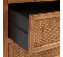 Maile KD Bamboo Side Table w/ 2 Bamboo Panels  Drawers, Tawny Brown/2100047