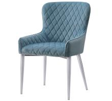 Miles KD Velvet Fabric Chair Chrome Legs, Conrad Teal/3400031-338