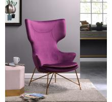 Elisa KD Velvet Fabric Accent Chair Gold Legs, Royal Violet Purple/4500020-335