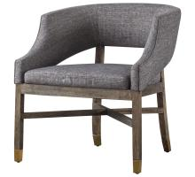 Sebastian Fabric Chair Cement Gray w/ Gold Metal Tip Legs, Century Gray/9900032-331