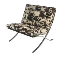 Barca Fabric Accent Chair Brushed Stainless Steel Frame, Brown Cow Print/6300055-CW1