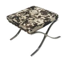 Barca Fabric Ottoman Brushed Stainless Steel Frame, Brown Cow Print/6300056-CW1