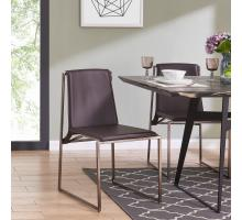 Frances PVC Chair Brushed Nickel Frame, Umber Brown/6700034-321