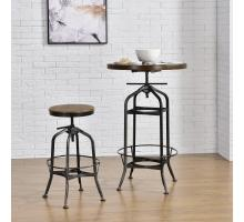 Industrial Vintage Bar Stool Gunmetal Legs, Walnut/9300040