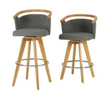 Luca KD Fabric Bamboo Swivel Counter Stool, Stokes Gray/Natural/1160010-287N