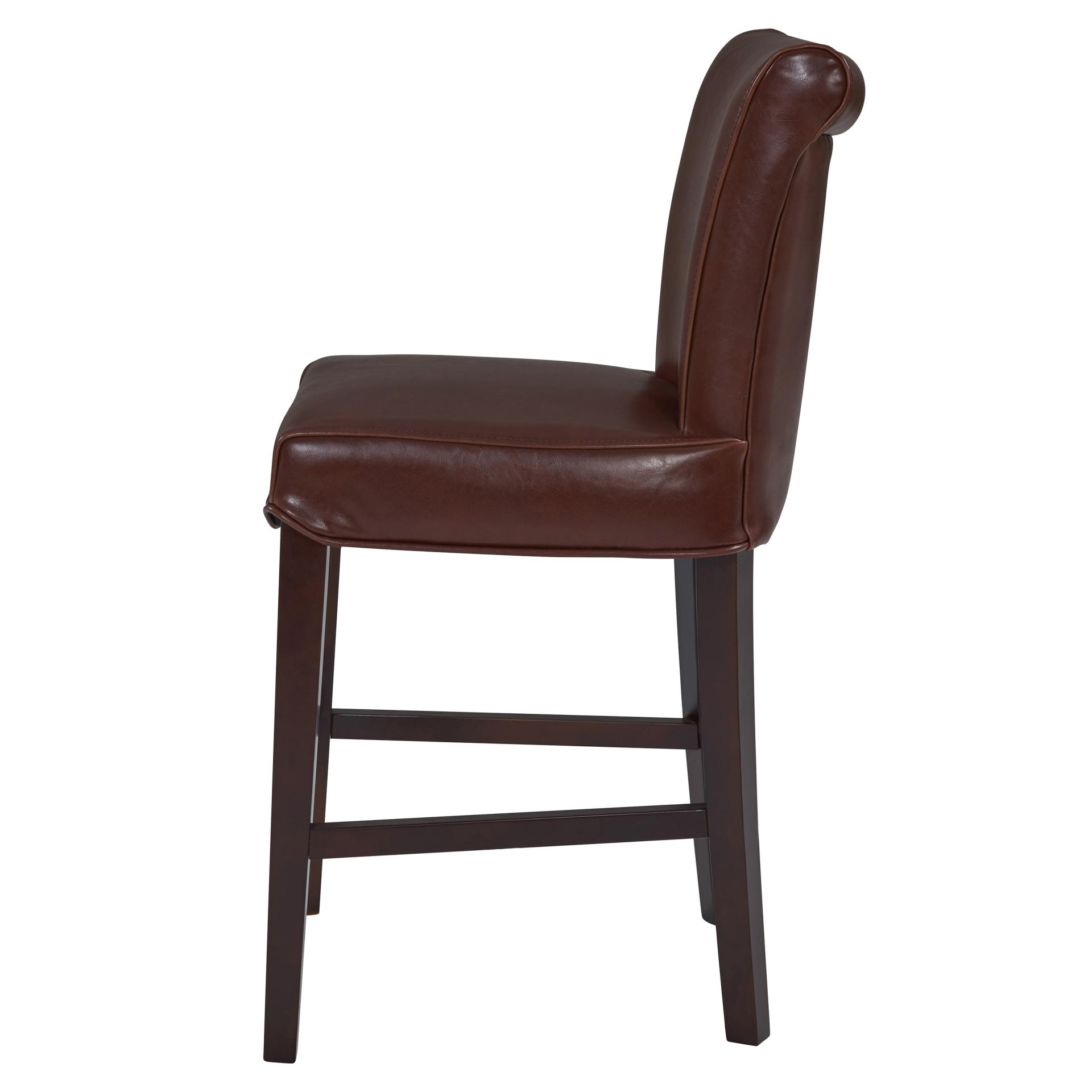 Wholesale Interiors Cognac Dark Brown Leather Bar Stool: Wholesale Lifestyle Furnishings