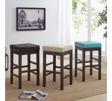 Valencia Backless Leather Counter Stool, Beige/108627-2050