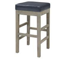 Valencia Bonded Leather Backless Counter Stool Mystique Gray Legs, Payne's Gray/108627B-322-MG